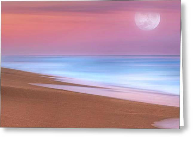 Greeting Card featuring the photograph Pastel Sunset And Moonrise Over Hutchinson Island Beach, Florida. by Justin Kelefas