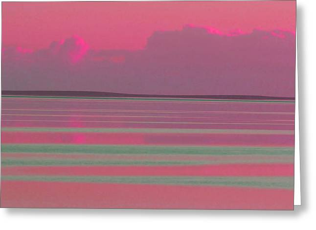 Pastel Sunset Sea Pink Greeting Card