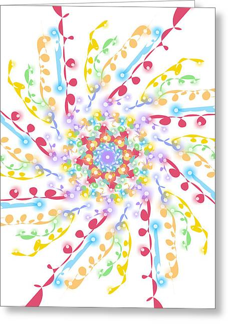 Pastel Twinkling Spiral Floral Rainbow  Greeting Card