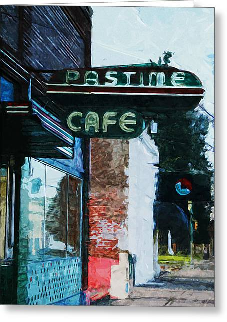 Pastime Cafe- Art By Linda Woods Greeting Card