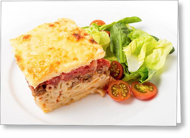 Pastitsio Meal High Angle Greeting Card by Paul Cowan