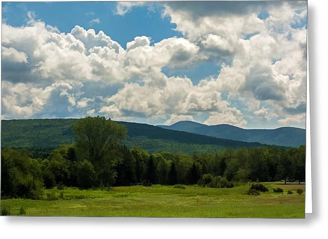 Pastoral Landscape With Mountains Greeting Card by Nancy De Flon
