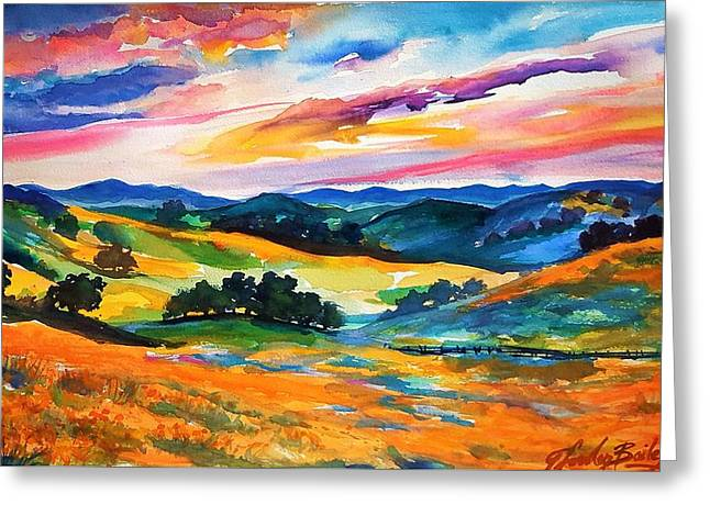 Pastoral Poppies On Yokohl Valley Greeting Card by Therese Fowler-Bailey
