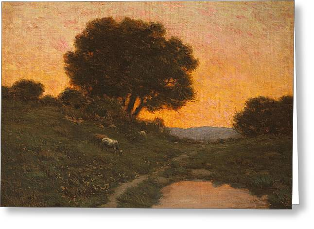 Pastoral Scene At Sunset  Greeting Card
