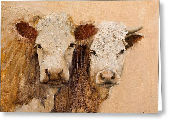 Greeting Card featuring the painting Pasture Buddies by John Reynolds