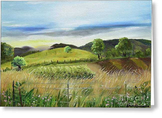 Greeting Card featuring the painting Pasture Love At Chateau Meichtry - Ellijay Ga by Jan Dappen