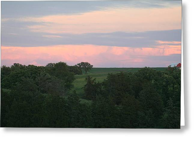 Pasture Scene Greeting Card by Linda Ostby