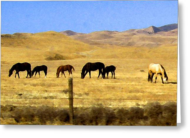 Greeting Card featuring the digital art Pastured Horses by Timothy Bulone