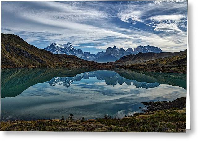 Patagonia Lake Reflection - Chile Greeting Card