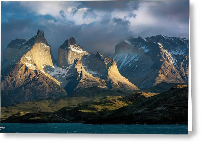 Patagonian Sunrise Greeting Card by Andrew Matwijec