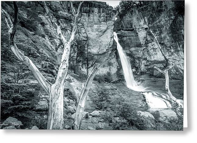Patagonian Waterfall Greeting Card by Andrew Matwijec
