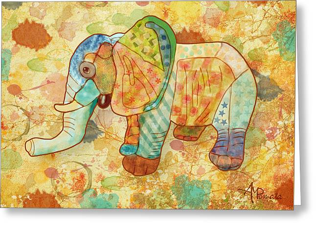 Patchwork Elephant Greeting Card by Angeles M Pomata