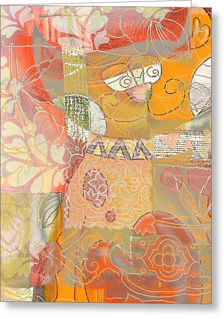 Patchwork Kitty Greeting Card by Jacky Gerritsen