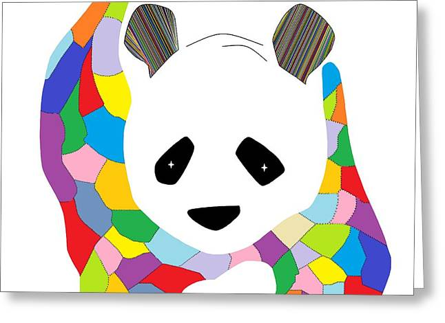 Patchwork Panda Greeting Card by Eloise Schneider