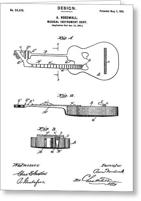 Patent Drawing For The 1901 Musical Instrument Guitar Body By A. Nordwall Greeting Card