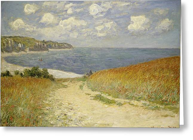 Ocean Shore Paintings Greeting Cards - Path in the Wheat at Pourville Greeting Card by Claude Monet