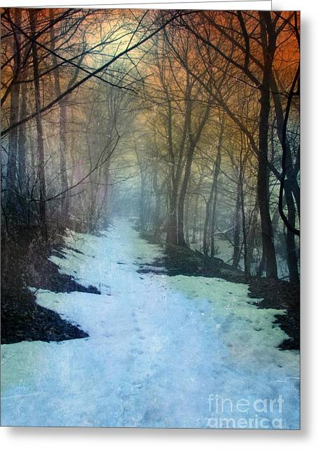 Wintry Landscape Greeting Cards - Path Through the Woods in Winter at Sunset Greeting Card by Jill Battaglia
