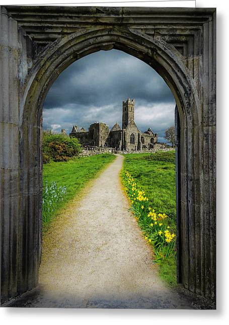 Greeting Card featuring the photograph Path To Ireland's Quin Abbey, County Clare by James Truett