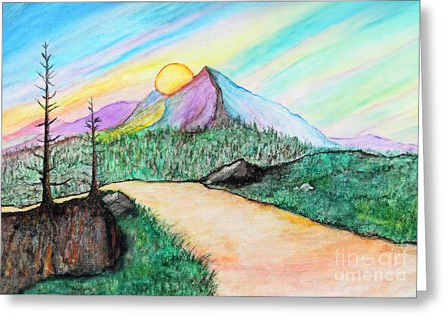 Path To Sunset Fantasy Greeting Card by Sabrina Wheeler