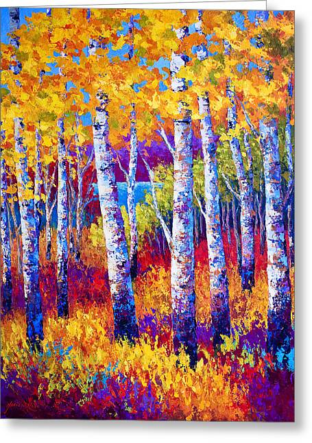 Leaves Paintings Greeting Cards - Path to the Lake Greeting Card by Marion Rose