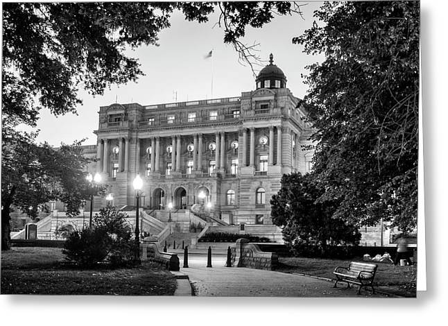 Path To The Library In Black And White Greeting Card