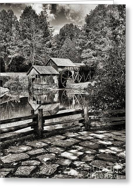 Pathway To Marby Mill In Black And White Greeting Card