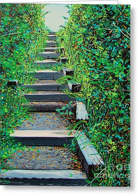 Pathway To Puget Sound Greeting Card by Stephen Ponting