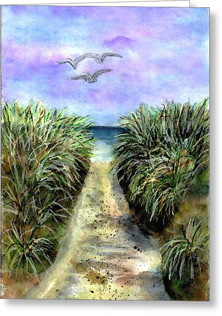 Pathway To The Shore Greeting Card by Dina Sierra