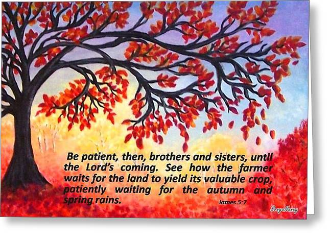 Greeting Card featuring the painting Patient Autumn Tree by Sonya Nancy Capling-Bacle