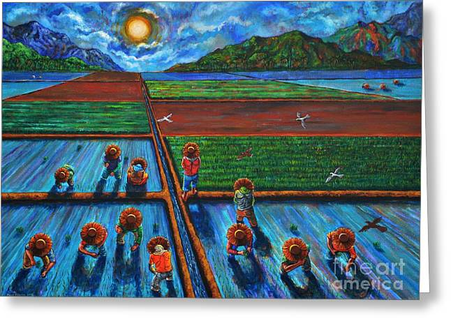 Patiently Planting Paddy Greeting Card by Paul Hilario