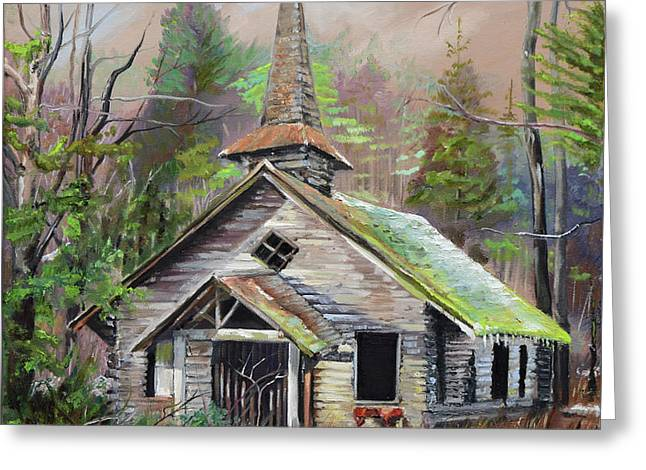 Greeting Card featuring the painting Patiently Waiting - Church Abandoned-signed by Jan Dappen