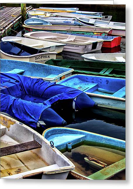 Patiently Waiting Dinghies Greeting Card by Karol Livote