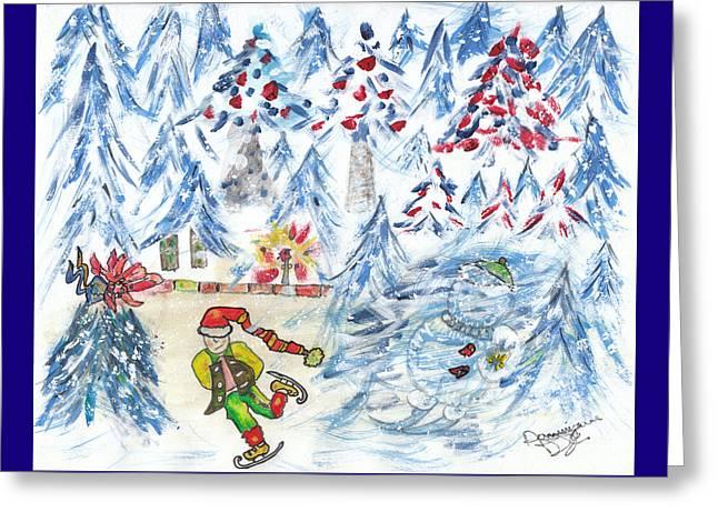 Patineur Sur Fond D'arbres Bleus / Skater In A Blue Forest Greeting Card