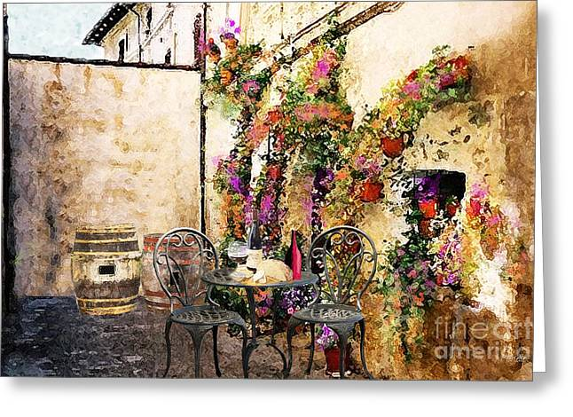 Patio And Wine Greeting Card