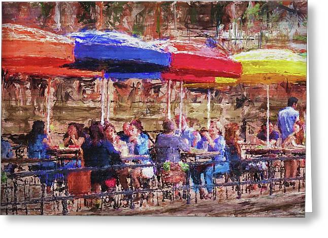 Patio At The Riverwalk Greeting Card