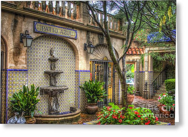 Patio Azul - Tlaquepaque Shopping Village - Sedona  Arizona Greeting Card by Jon Berghoff