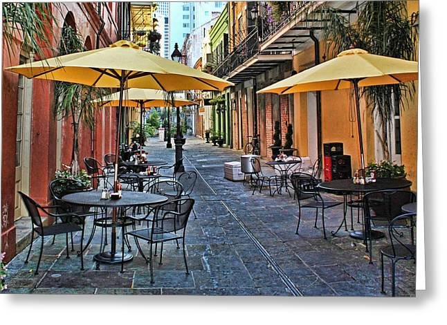 Patio Cafe In Nola Greeting Card by Judy Vincent