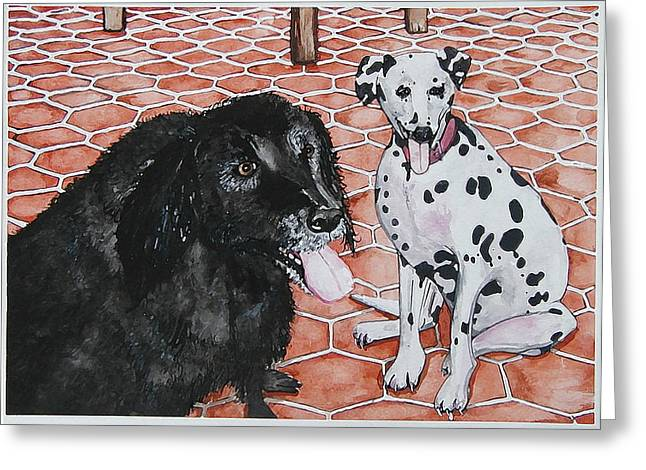 Patio Dogs Greeting Card by Laura Brightwood