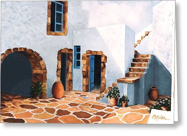 Patio In Patmos, Greece-prints From Original Oil Painting Greeting Card
