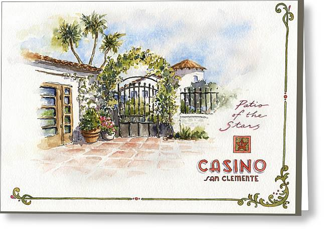 Patio Of The Stars At The Casino Greeting Card by Leslie Fehling
