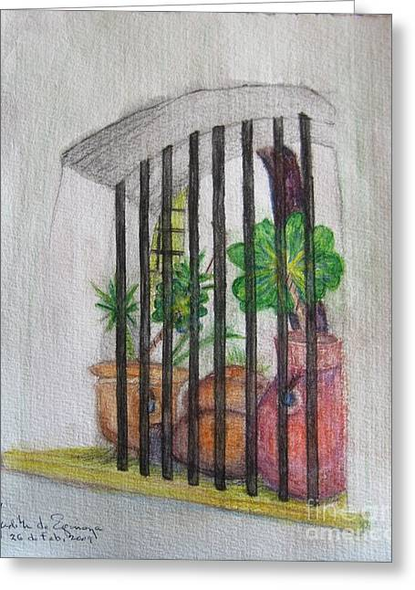 Patio Window - Gifted Greeting Card by Judith Espinoza