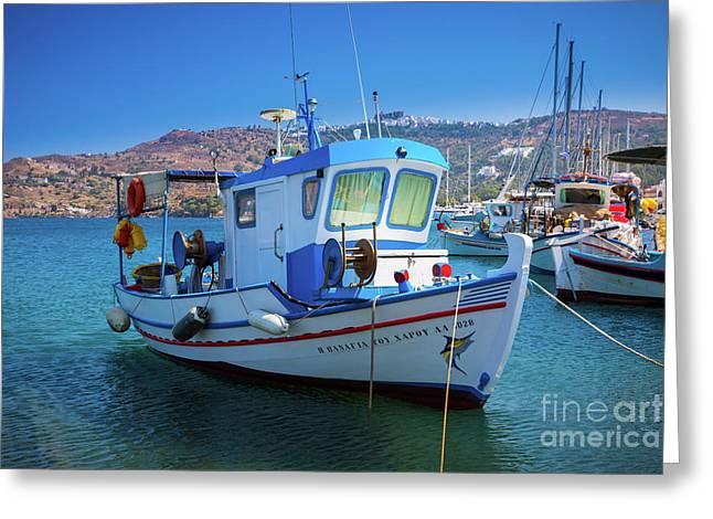 Patmos Fishing Boat Greeting Card by Inge Johnsson