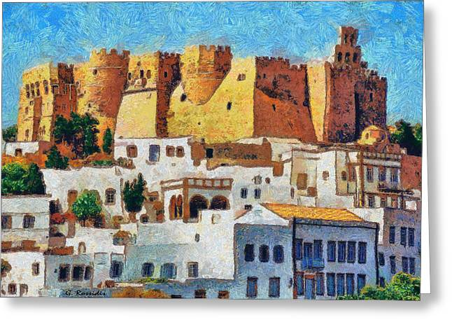 Dodecanese Greeting Cards - Patmos Greeting Card by George Rossidis
