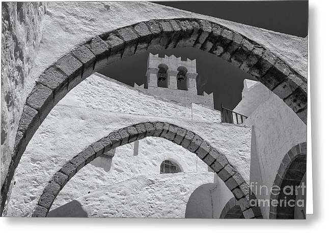 Patmos Monastery Arches Greeting Card by Inge Johnsson