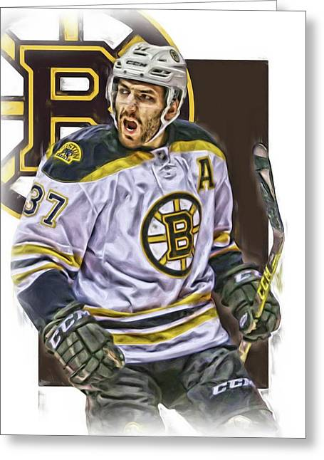 Patrice Bergeron Boston Bruins Oil Art 1 Greeting Card