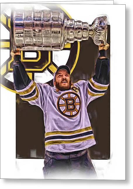 Patrice Bergeron Boston Bruins Oil Art 3 Greeting Card