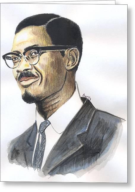 Patrice Emery Lumumba Greeting Card by Emmanuel Baliyanga