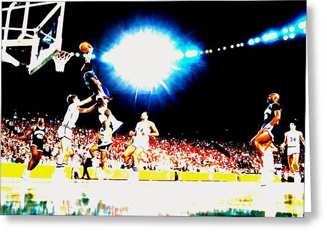 Patrick Ewing Nasty Slam  Greeting Card by Brian Reaves