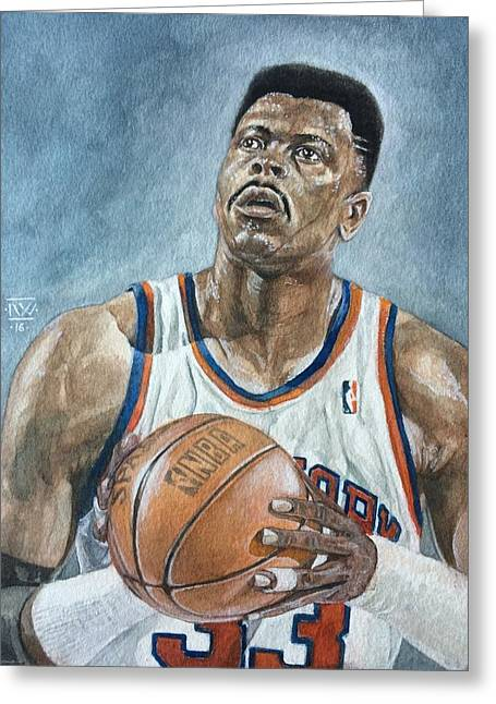 Patrick Ewing Greeting Card by Nigel Wynter