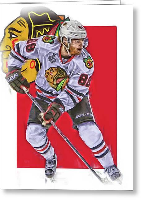 Patrick Kane Chicago Blackhawks Oil Art Series 2 Greeting Card